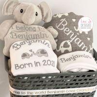 <!-- 101 --> Personalised Baby Elephant Hamper Gift Set