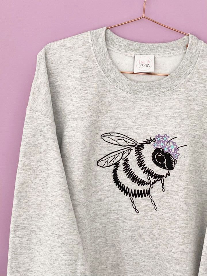<!-- 001 --> Queen Bee Sketch - Embroidered Sweater