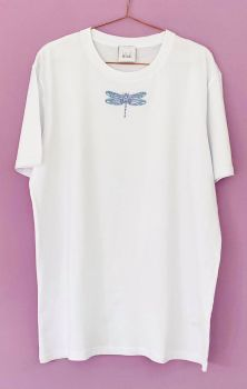 Hand Drawn Dragonfly  - Organic Embroidered Tee or Sweater
