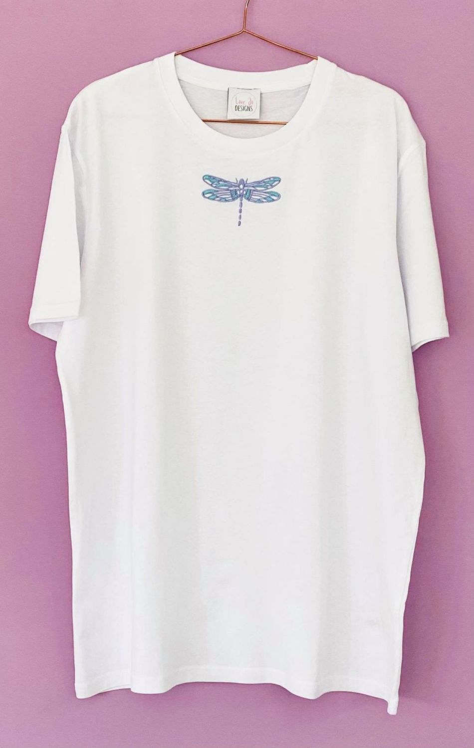 <!-- 001 --> Hand Drawn Dragonfly  - Organic Embroidered Tee