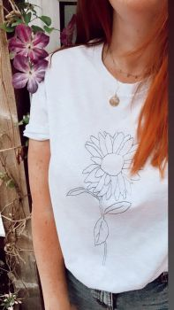 Sunflower Sketch - Organic Embroidered Tee