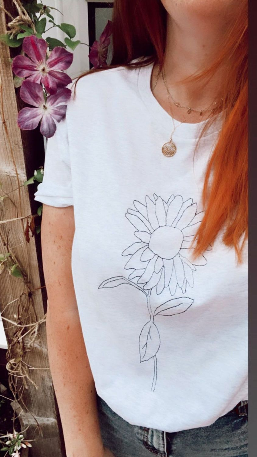<!-- 0022 --> Sunflower Sketch - Organic Embroidered Tee