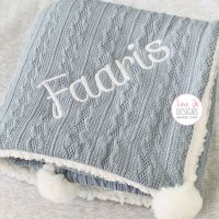 <!-- 104 --> Cable Knit Dusty Blue Blanket