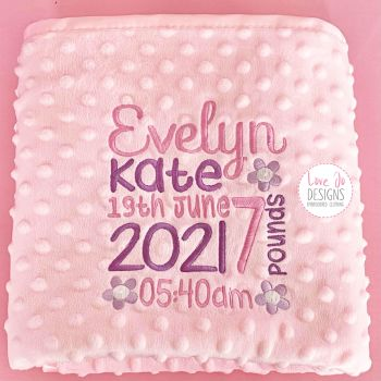 Pink Personalised Bubble Blanket - Full Details