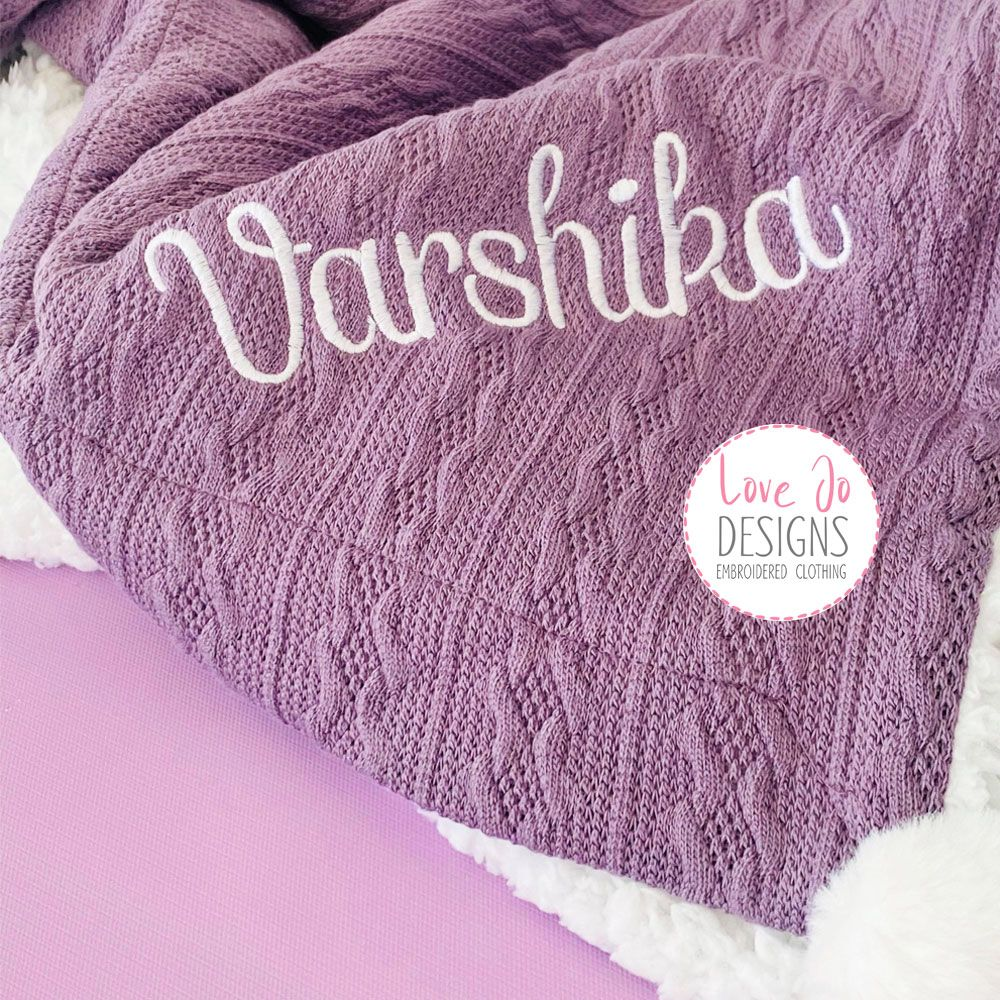 <!-- 104 --> Cable Knit Purple Blanket