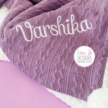 Cable Knit Purple Blanket