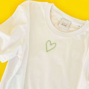 Outline Heart - Embroidered Organic Tee