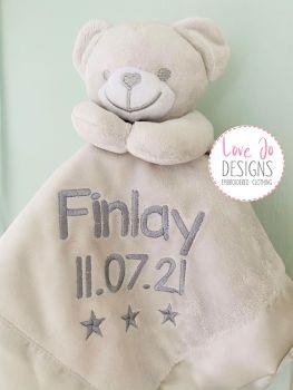 Personalised Grey Teddy Comforter