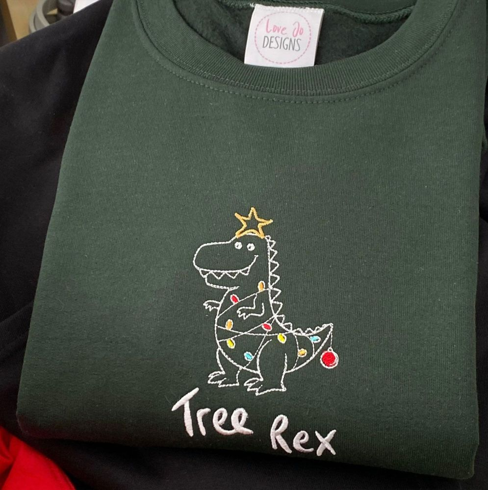 Tree Rex - Embroidered Christmas Jumper