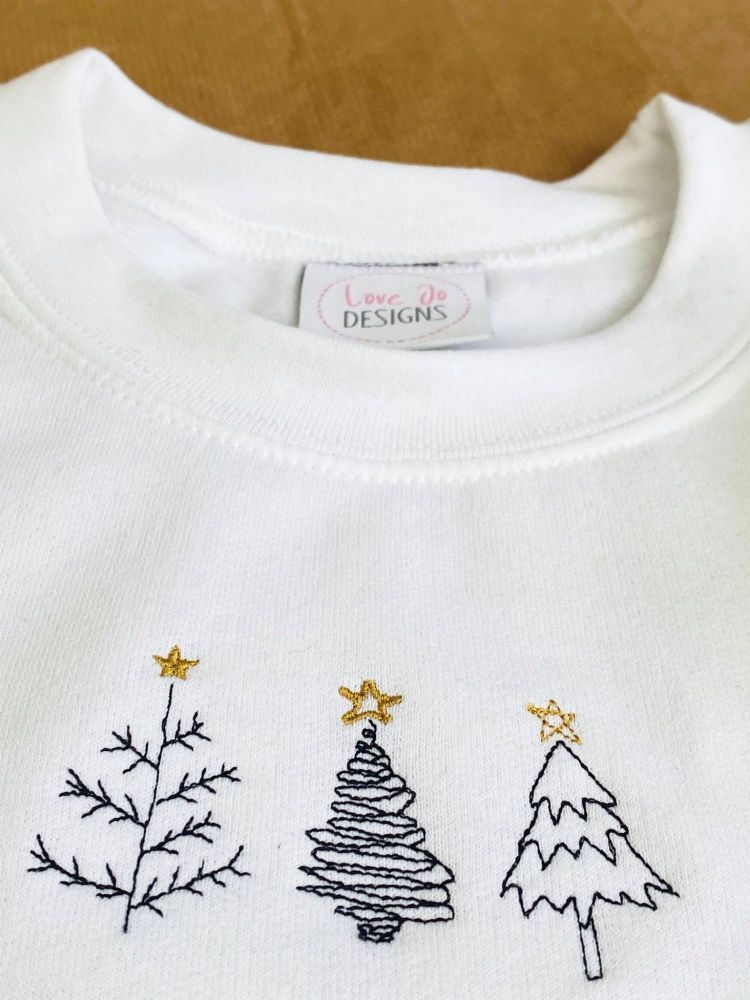 Simple Tree Doodles - Embroidered Christmas Jumper