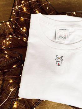 Mini doodle rudolf - Organic Embroidered Tee