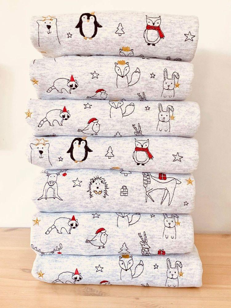 Christmas animal doodles - Embroidered Christmas Jumper