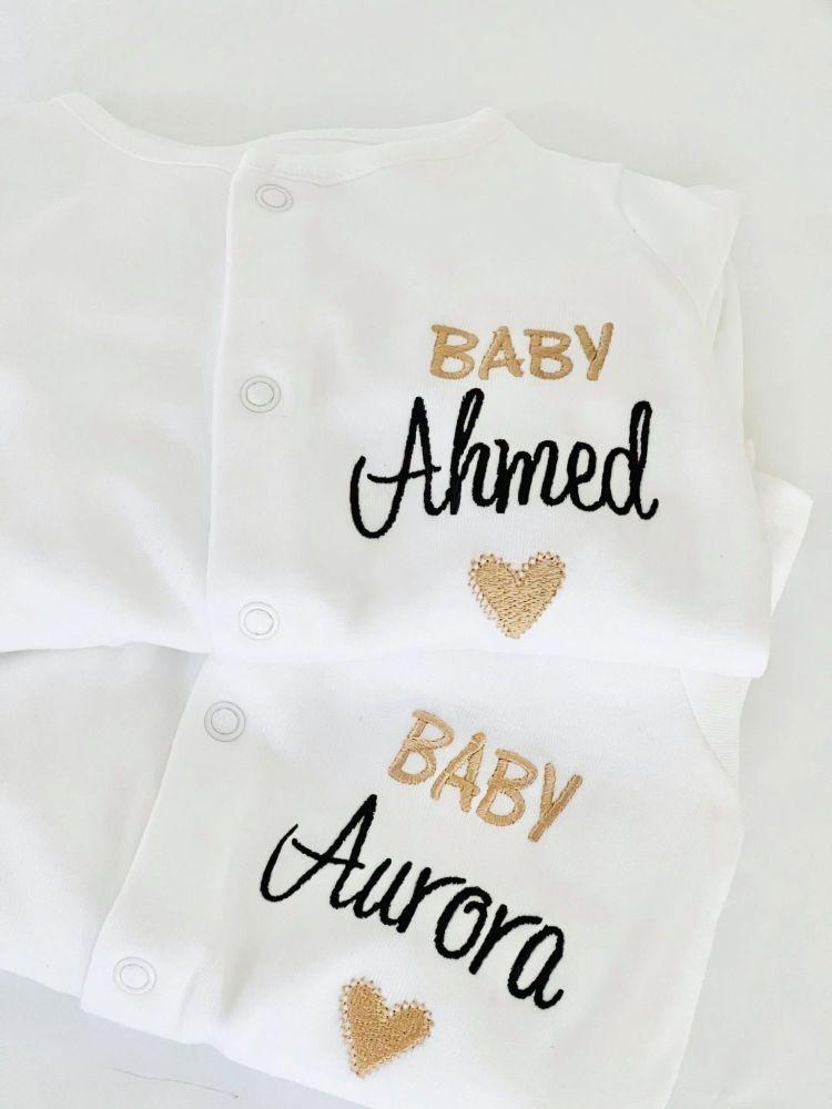 Sleepsuit & Baby Hat set Personalised
