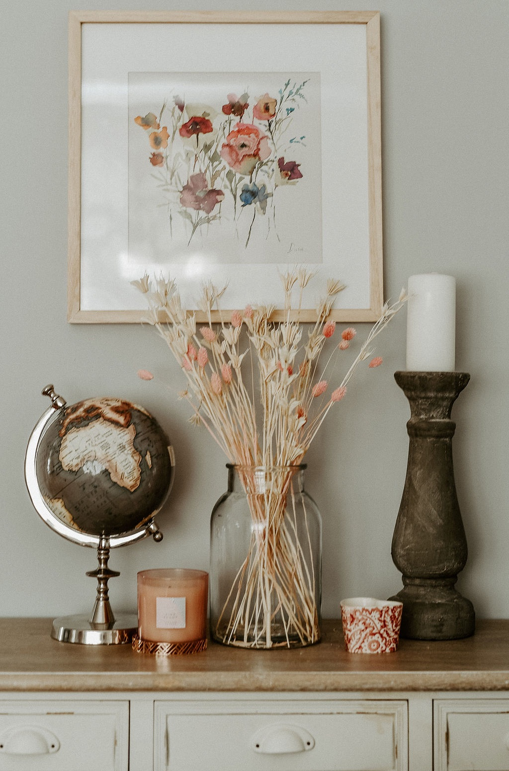 Dried Nigella and Pink Bunny Tail Arrangement