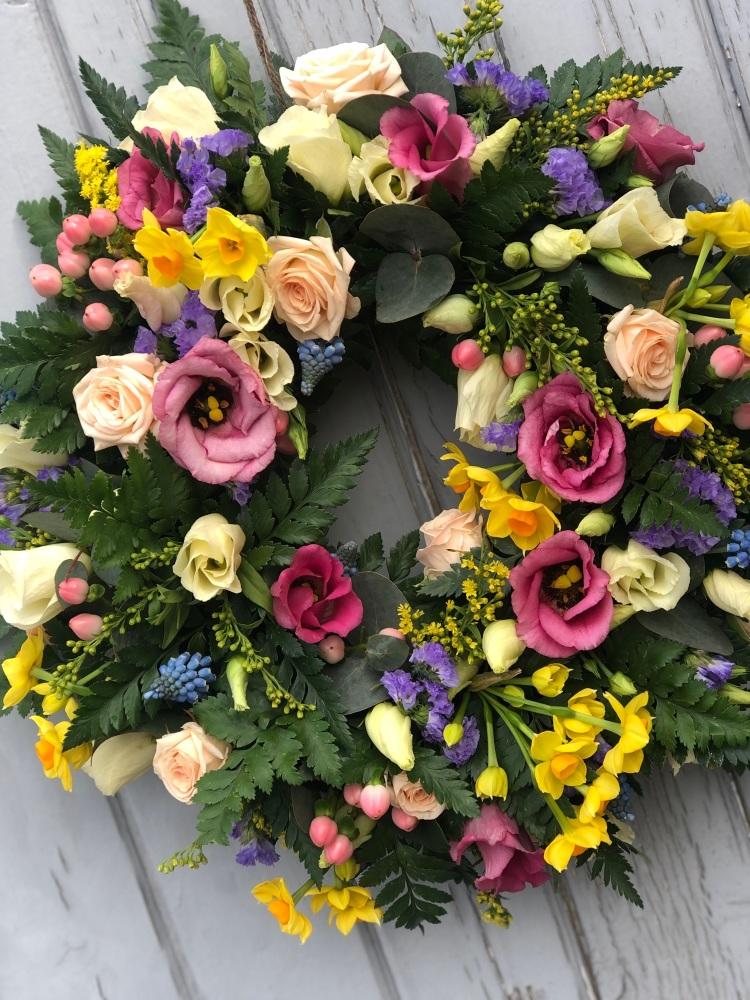 Pretty Pastel Fresh Flower Wreath