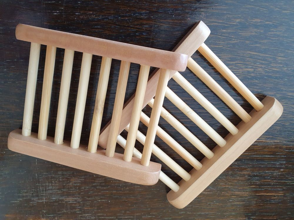 Wooden laddered soap dish