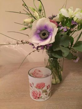 Pink Floral Tealight Holder