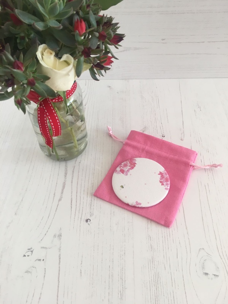 Peonie Cole Pink Hydrangea and Bee Pocket Mirror