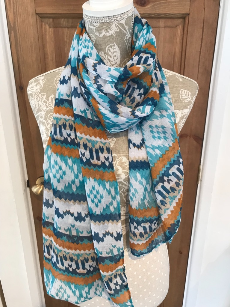 Mustard and Navy Fashion Scarf