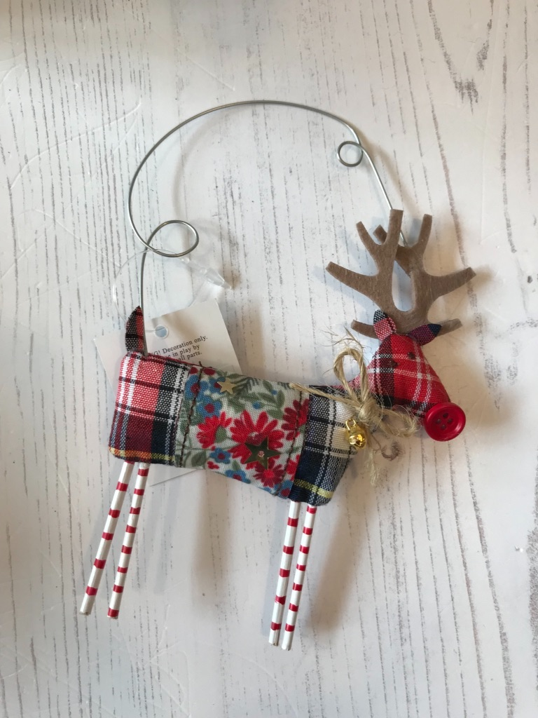 Tartan Fabric Reindeer Decoration