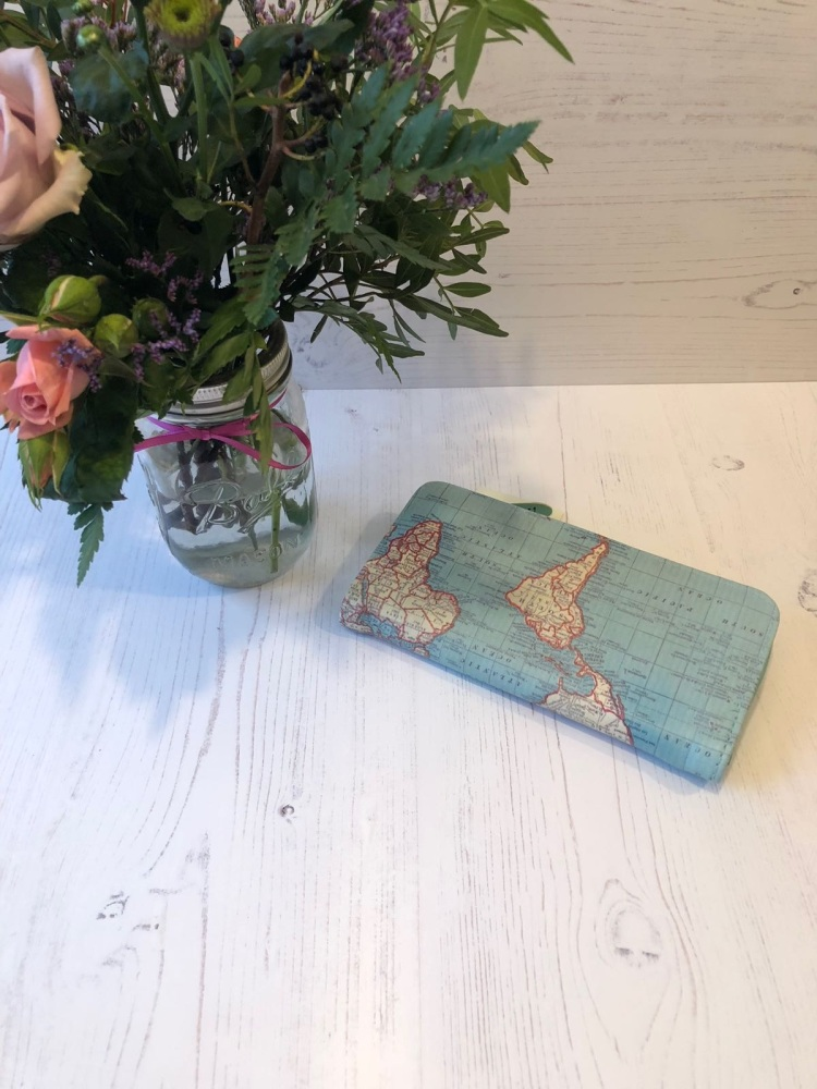 World Map Long Purse
