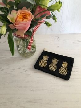 Black and Gold Pineapple Coin Purse