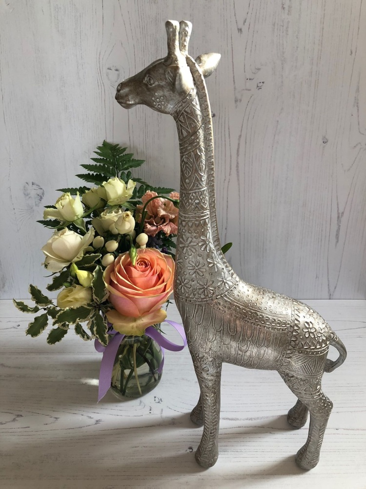 Intricate Champagne Ethnic Giraffe Ornament