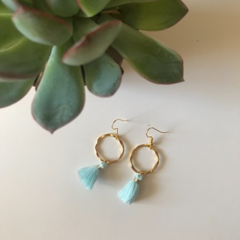 Gold Tassel Earrings - sky blue