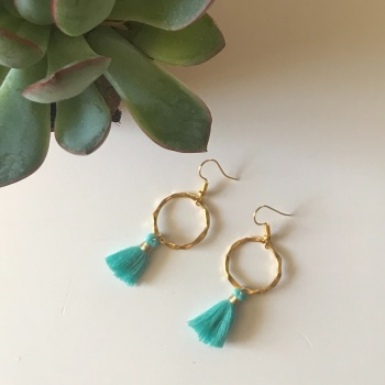 Gold Tassel Earrings - Turquoise