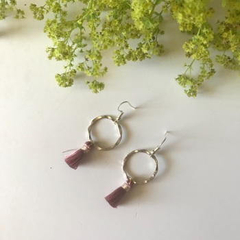 Silver Tassel Earrings - Dusty Rose
