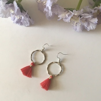Silver Tassel Earrings - Coral