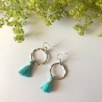 Silver Tassel Earrings - Turquoise