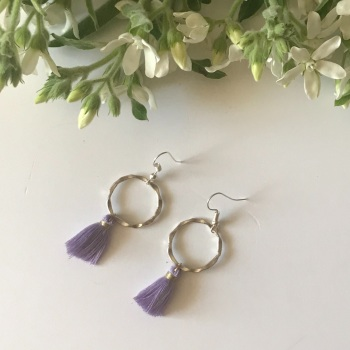 Silver Tassel Earrings - Lilac