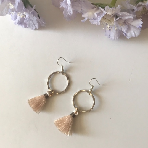 Silver Tassel Earrings - Champagne