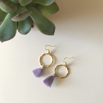 Gold Tassel Earrings - Lilac