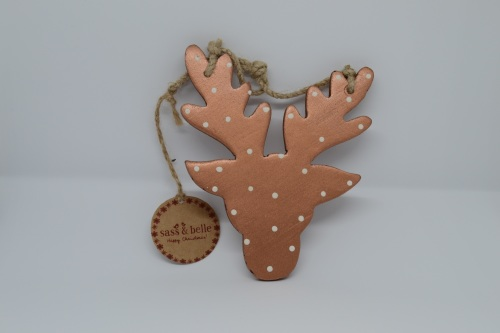 Wooden Copper Spot Stag Head Hanging Decoration