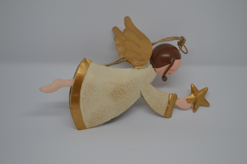 Rustic Metal Angel with Star Hanging Decoration