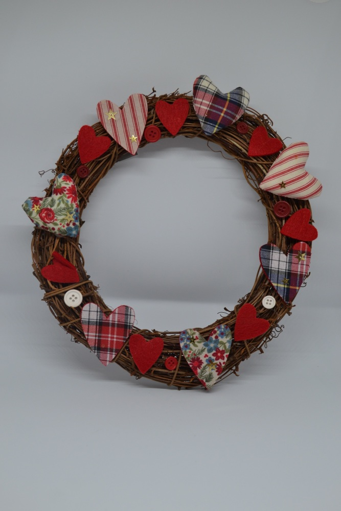 Wood and Fabric Christmas Door Wreath