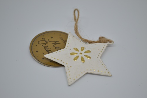 White and Gold Rustic Metal Star