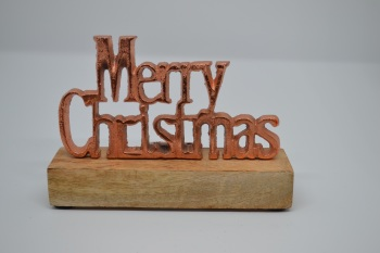 Merry Christmas Metal Copper Sign