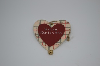 Merry Christmas Wooden Heart Decoration