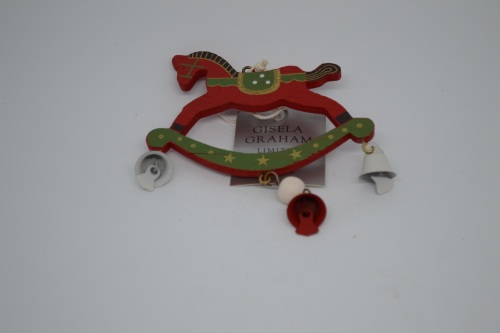 Rocking Horse Decoration with Bells - Green and Red
