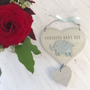 Baby Boy Wooden Hanging Heart Plaque