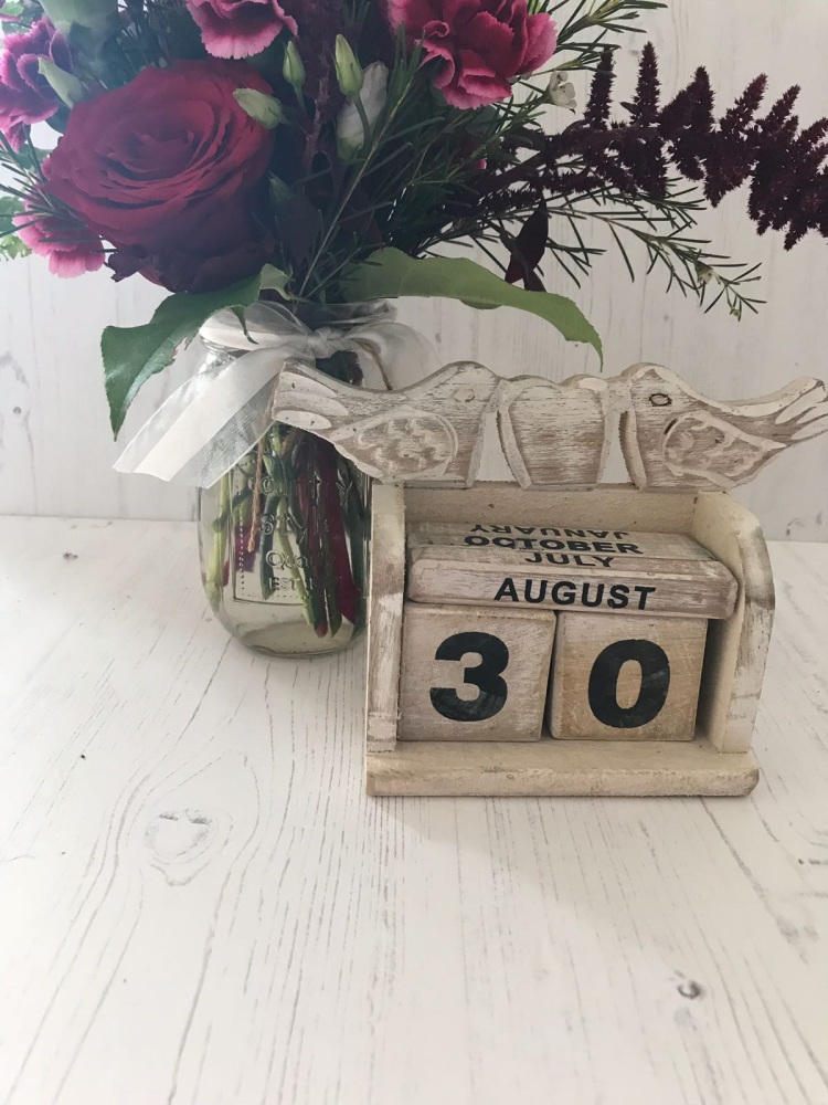 White Wash Wooden Calendar