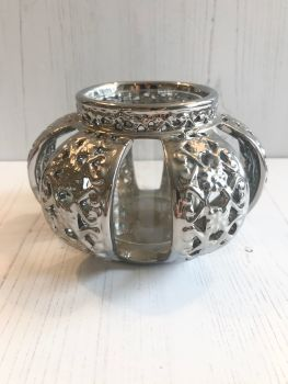 Silver Moroccan Inspired Tealight Holder