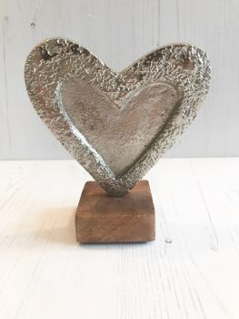 Silver Heart on Wooden Stand