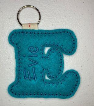 'E' Felt Letter Personalised Keyring
