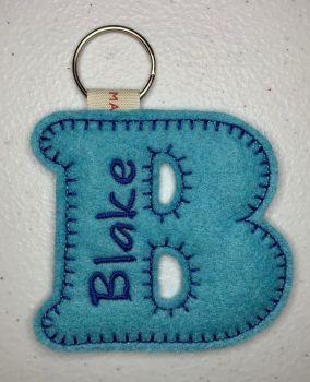'B' Felt Letter Personalised Keyring