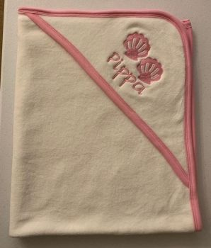 Personalised Baby Hooded Towel with Pink Trim