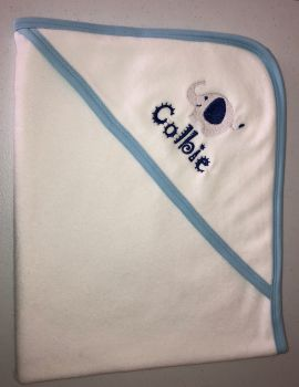 Personalised Baby Hooded Towel with Light Blue Trim